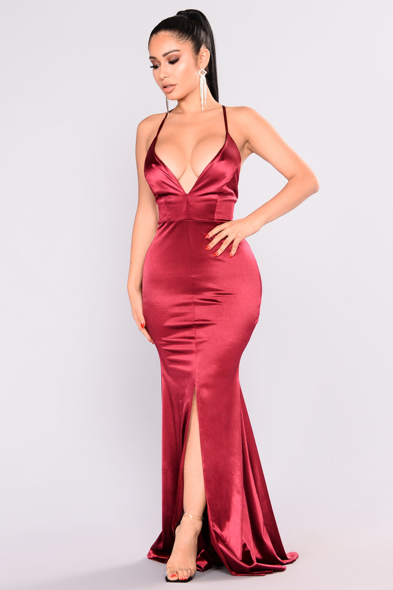 Decadence Satin Dress - Wine