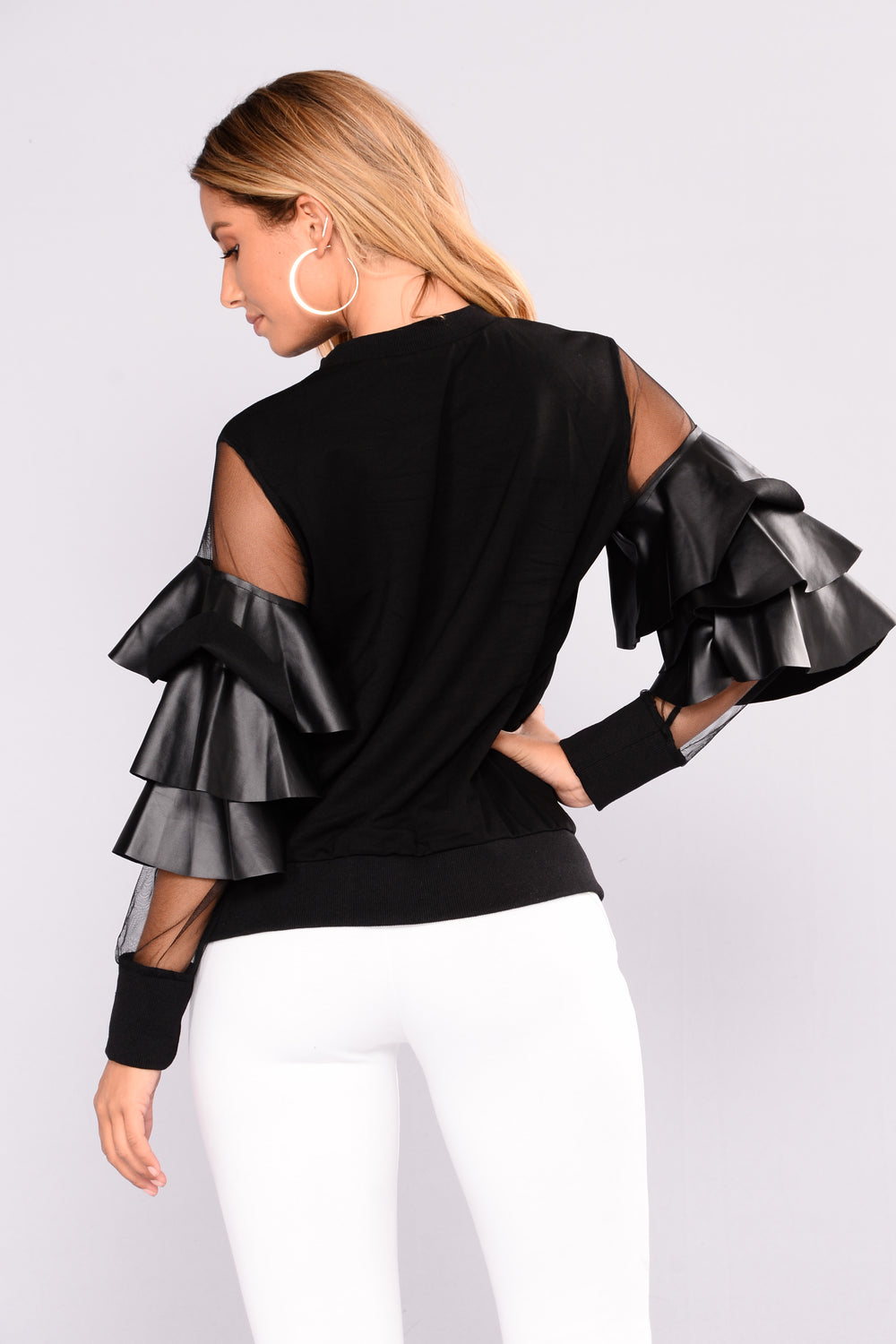Ruffle Trouble Top - Black