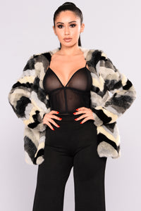 Are You Furreal Fur Coat - Black Multi