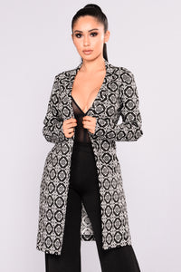 Julie Long Lined Jacket - Black/White
