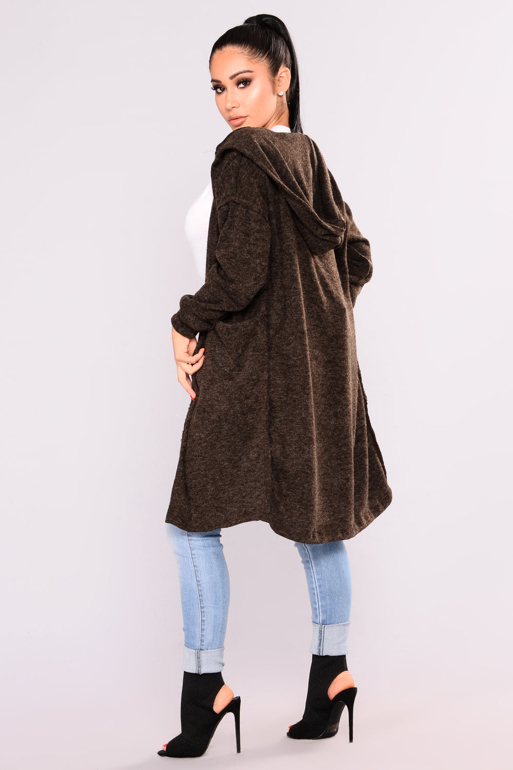 Cozy Winter Hooded Cardigan - Charcoal