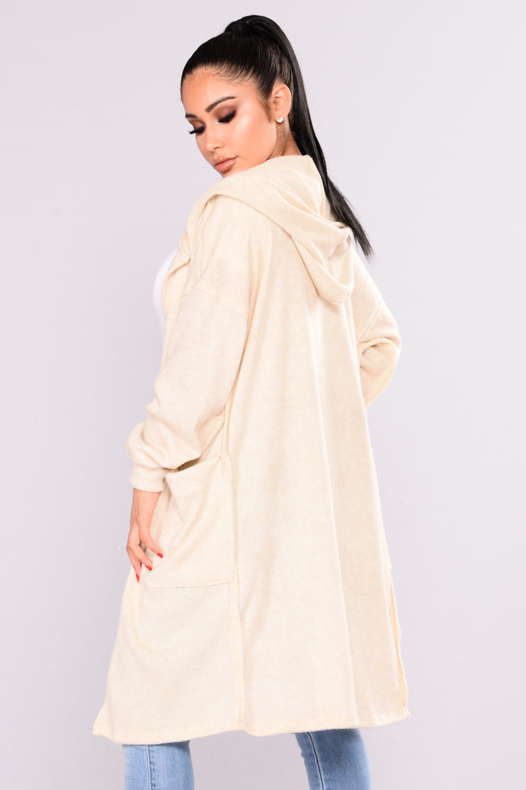 Cozy Winter Hooded Cardigan - Ivory