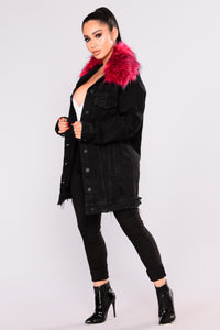 Dakota Denim Jacket - Black/Hot Pink