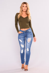 Soft Spot Skinny Jeans - Medium Blue Angle 6