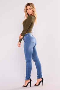 Soft Spot Skinny Jeans - Medium Blue Angle 9