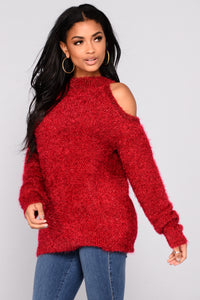 Azalea Cold Shoulder Sweater - Red