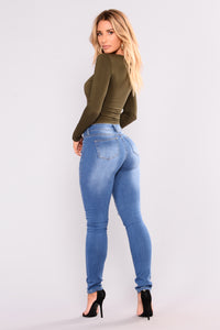 Soft Spot Skinny Jeans - Medium Blue Angle 11