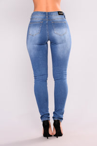 Soft Spot Skinny Jeans - Medium Blue Angle 10