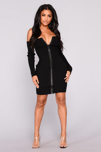 Take A Shot Zipper Dress - Black