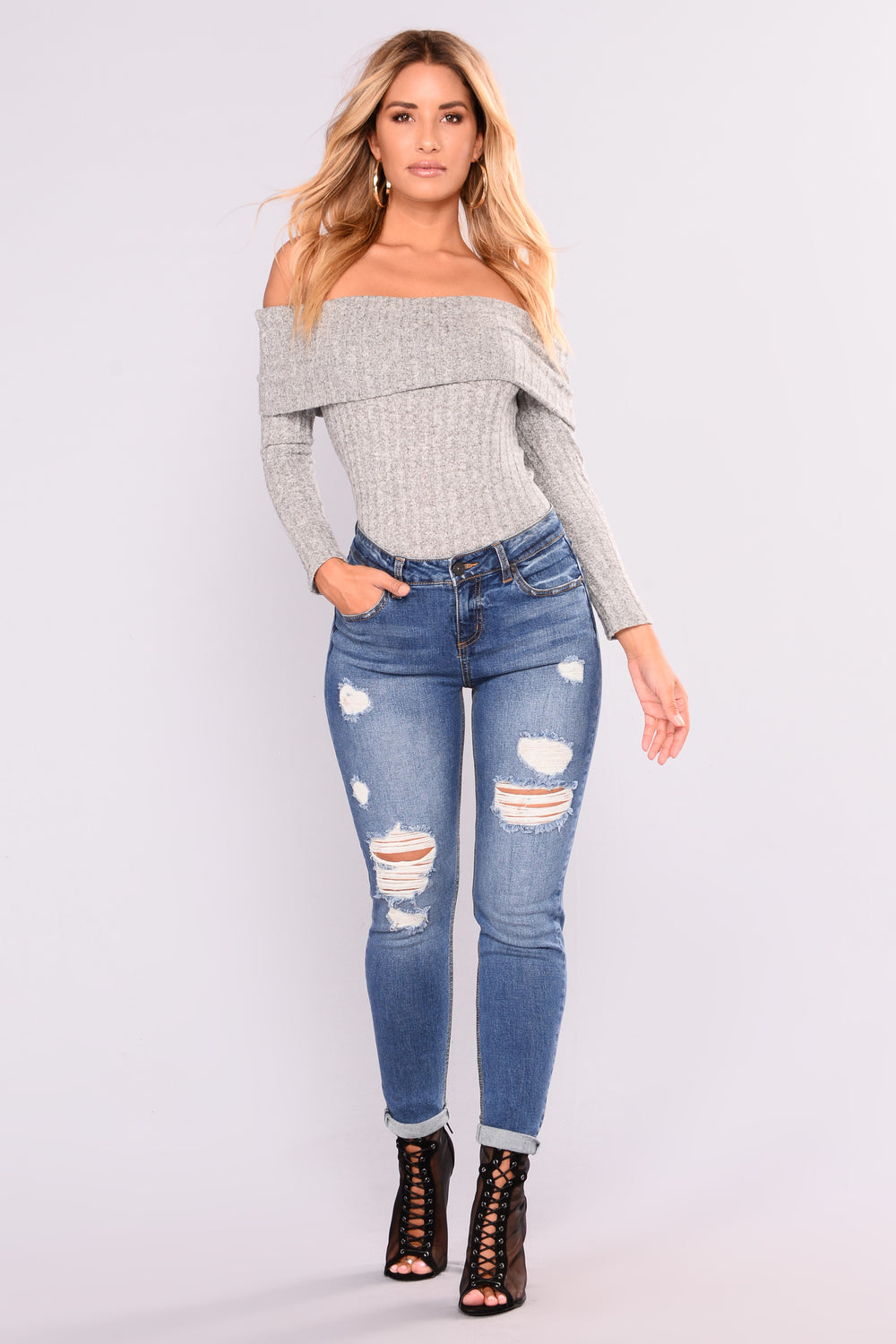 Paulina Off Shoulder Top - Heather Grey