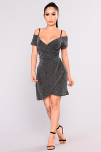 Arabella Metallic Dress - Silver