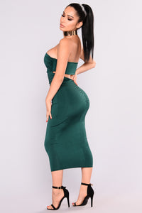 Ruched Me Right Midi Dress - Hunter Green