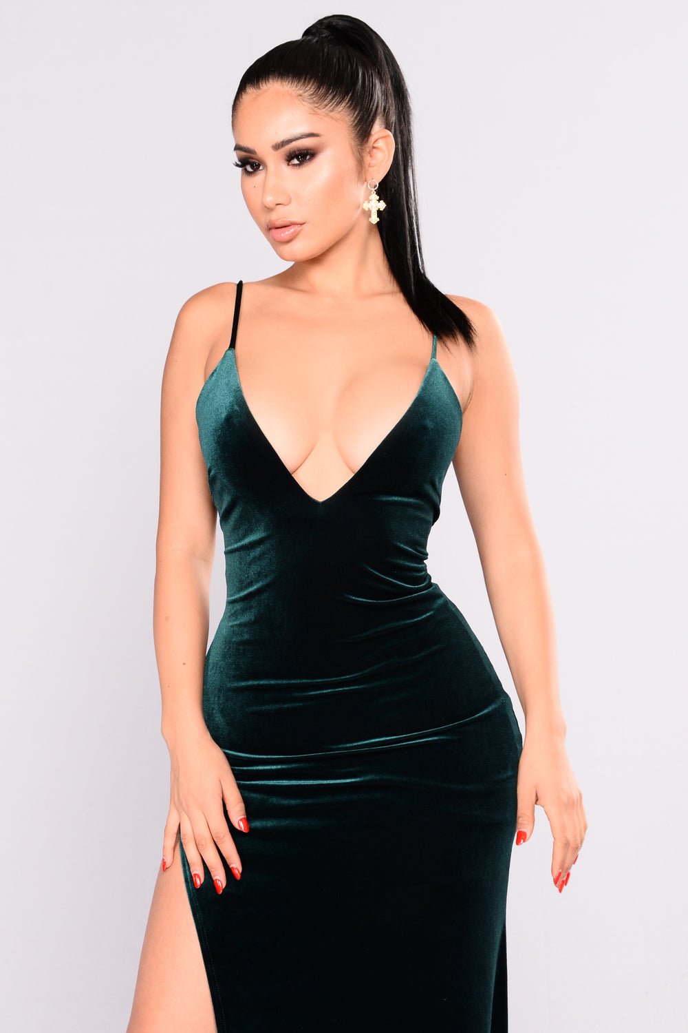 Galant Velvet Dress - Hunter Green