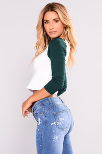 Blow My Mind Crop Top - Dark Green