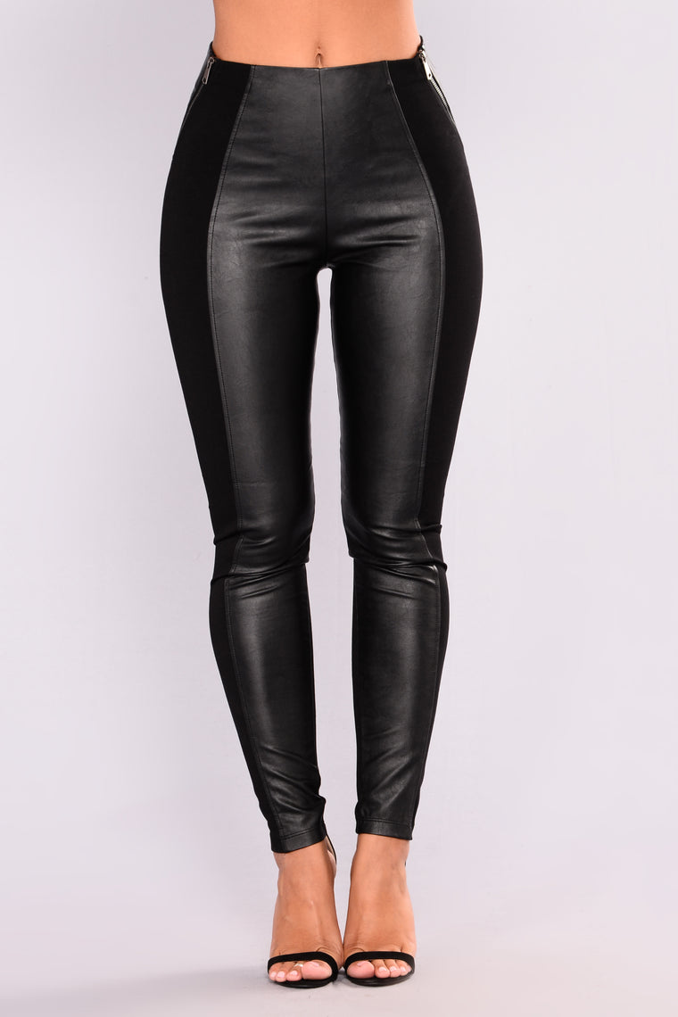 Ridin Solo Faux Leather Leggings - Black