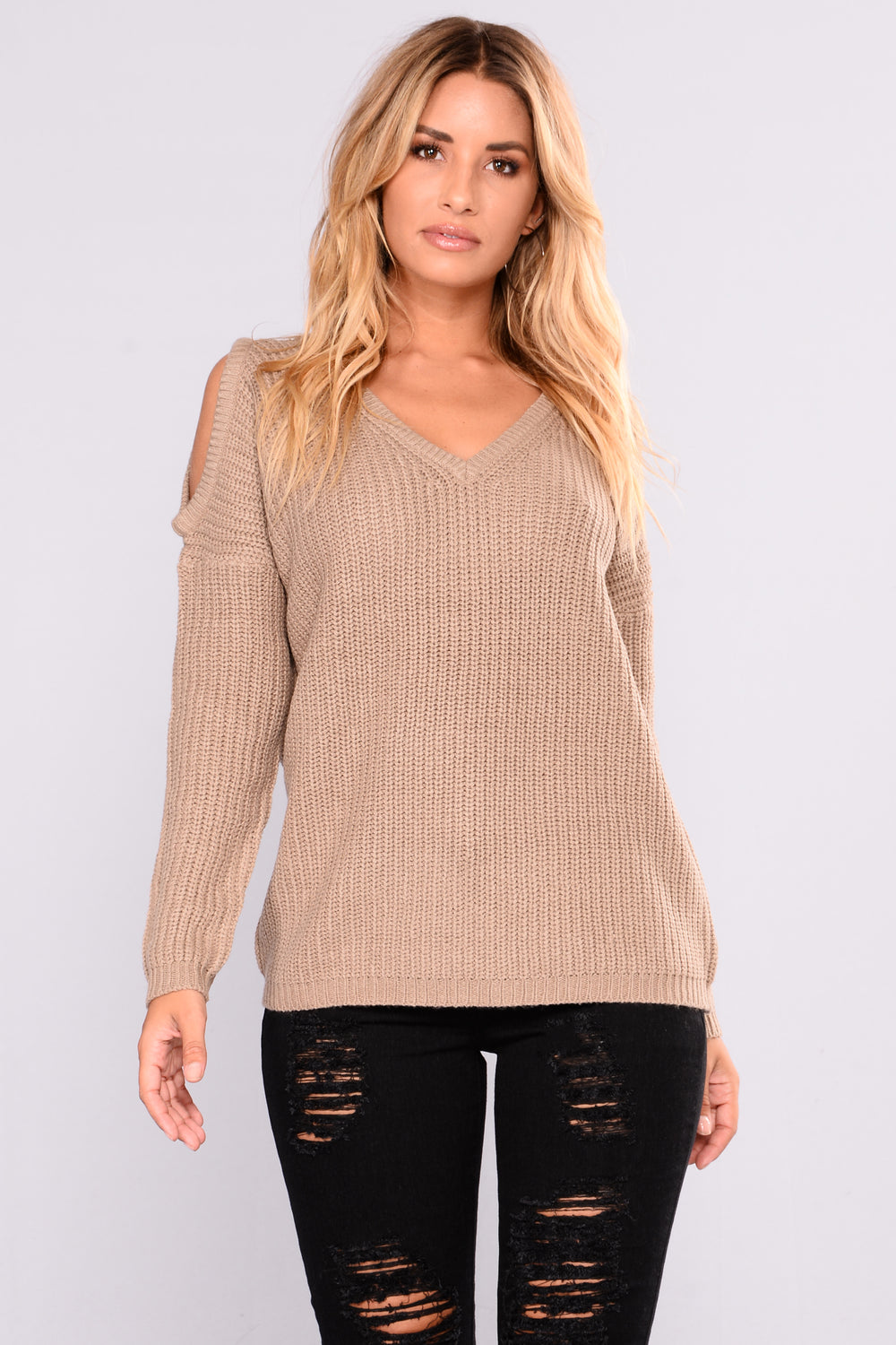 Carol Cold Shoulder Sweater - Khaki