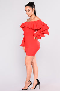 Brigid Ruffle Dress - Red