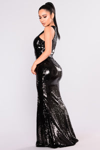 Grandeur Sequin Dress - Black Angle 3