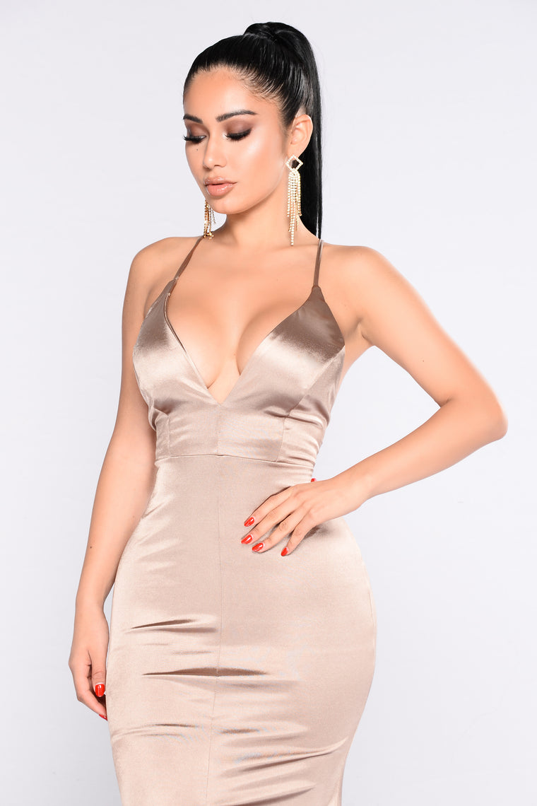 Decadence Satin Dress - Champagne