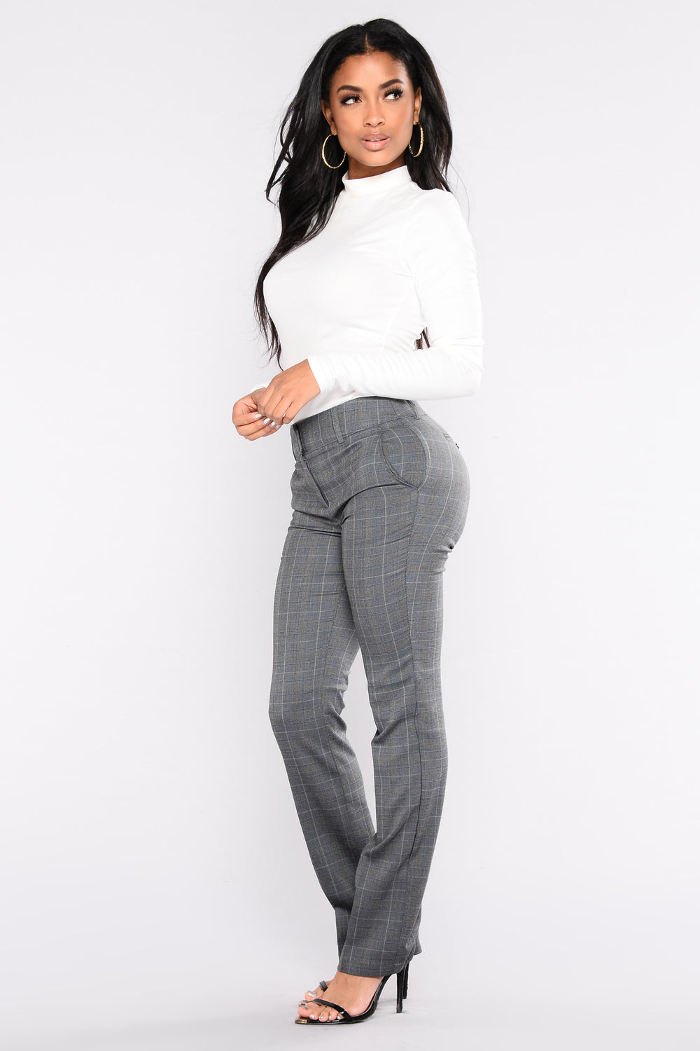 Running The Show Plaid Pants - Grey/Navy