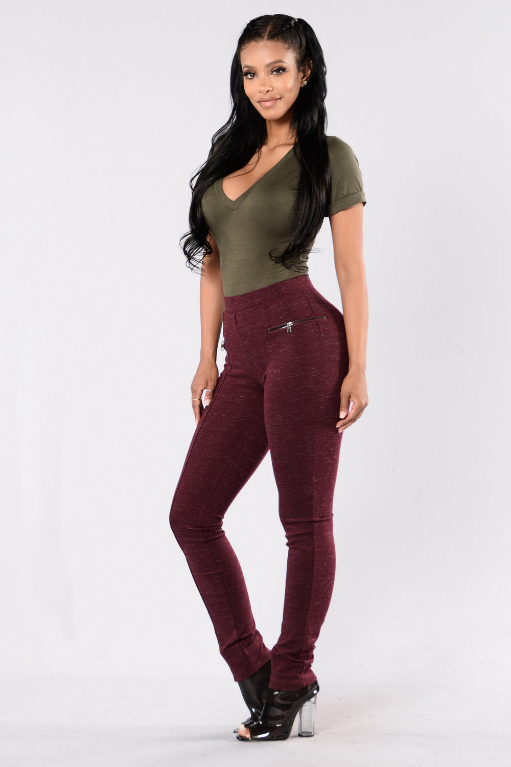 Zipped In Legging - Wine