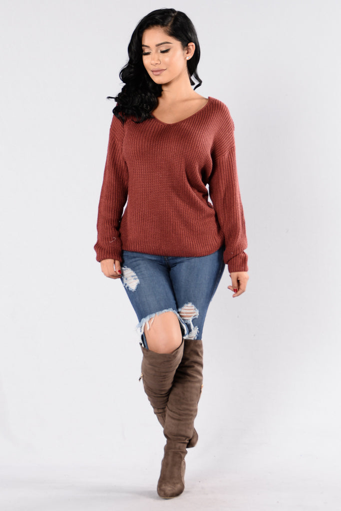 Falls Favorite Girl Sweater - Marsala