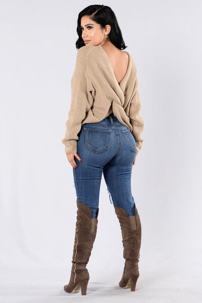 Falls Favorite Girl Sweater - Taupe