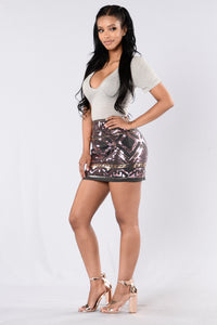 In This Skin Skirt - Charcoal/Pink