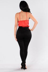Rosy Glow Bodysuit - Red Angle 5