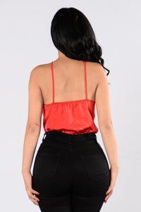 Rosy Glow Bodysuit - Red