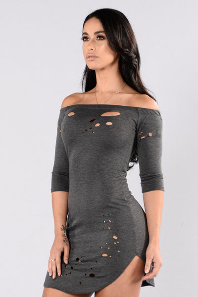 Foul Play  Dress - Charcoal