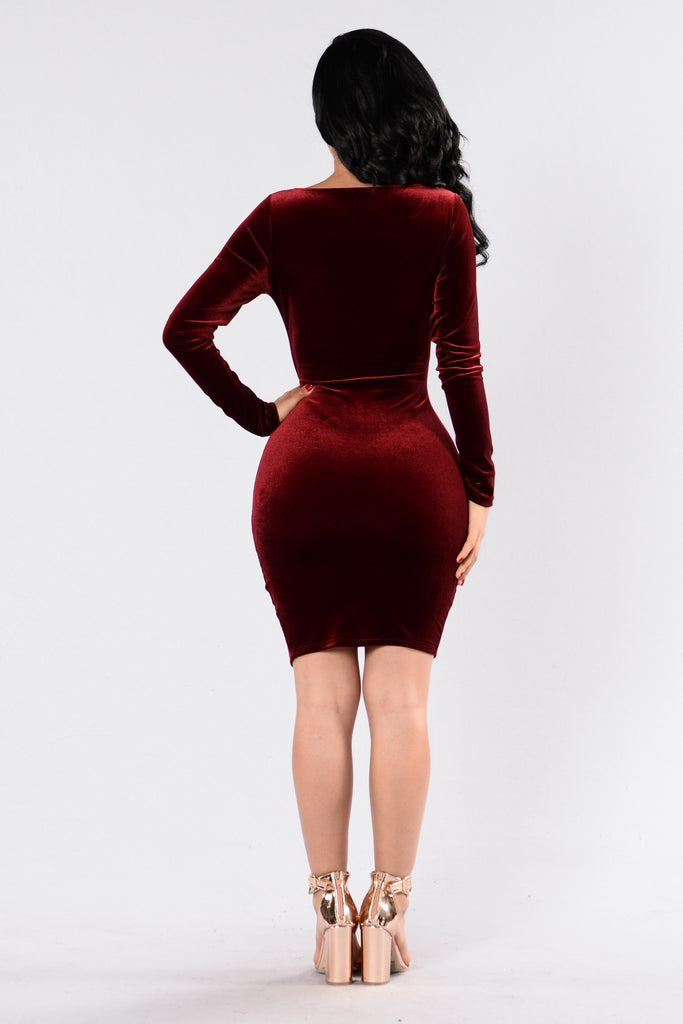 We Found Love Dress - Burgundy