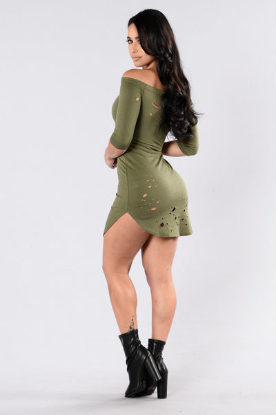 Foul Play  Dress - Olive