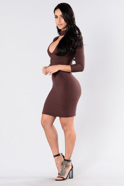 Wavy River Dress - Dark Mauve