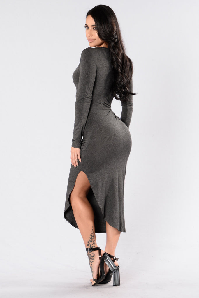 Stay Close Dress - Charcoal
