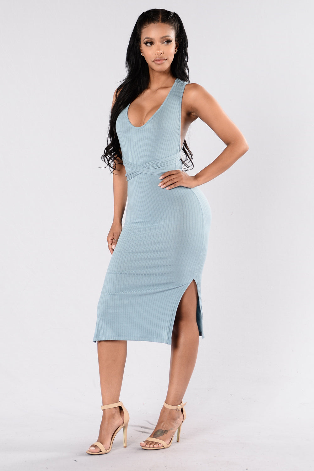 Take On Me Dress - Dusty Blue