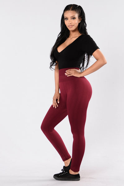 For Warmth Fleece Legging - Wine