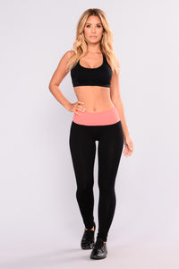 Young Yogi Foldover Lounge Leggings - Black/Coral
