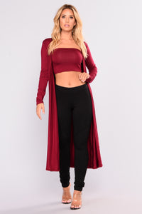 Come Get IT Bae Cardigan - Burgundy