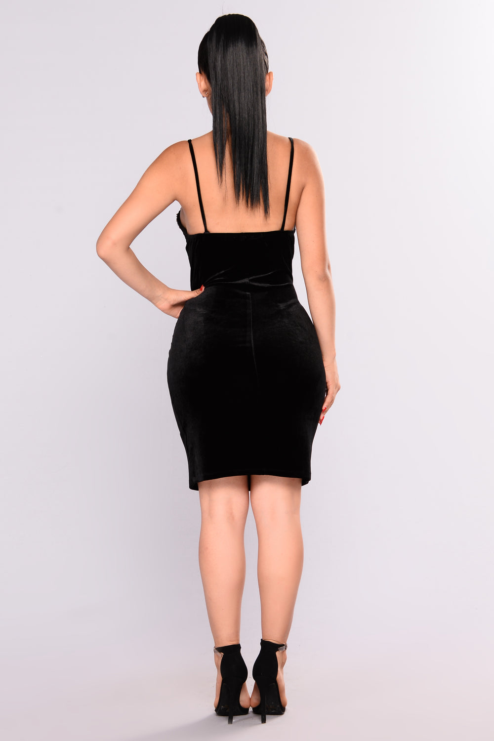 Gem Velvet Dress - Black