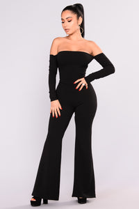 Never Forget You Lace Up Jumpsuit - Black