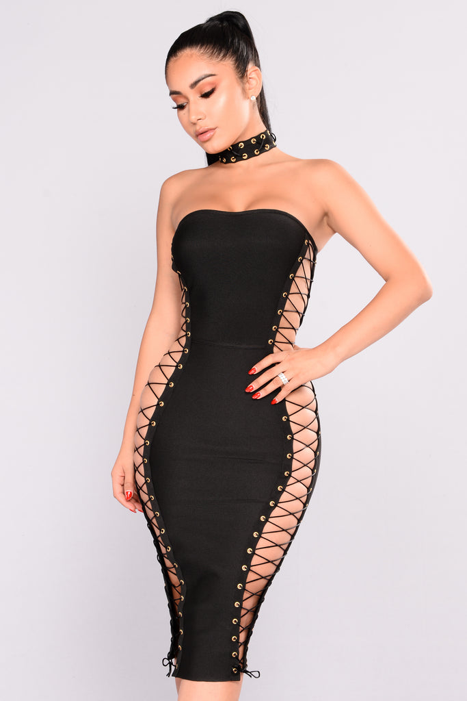 sexy stacey lace up dress black