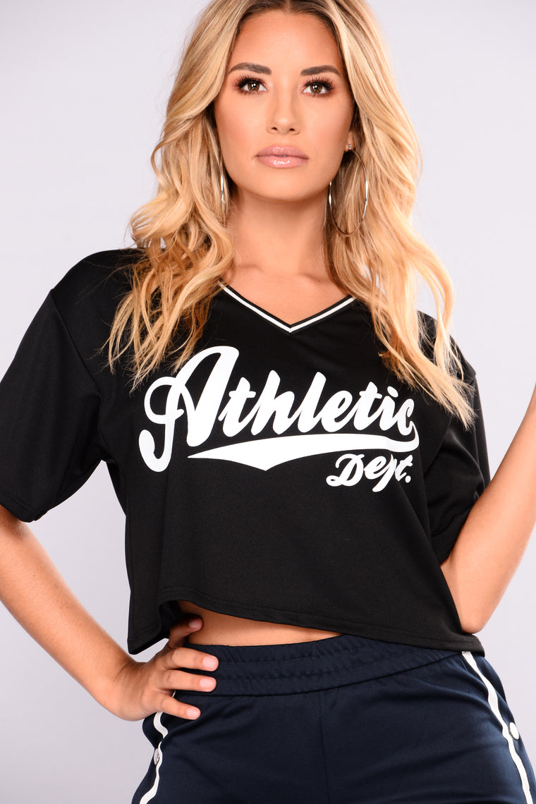 So Athletic Jersey Top - Black