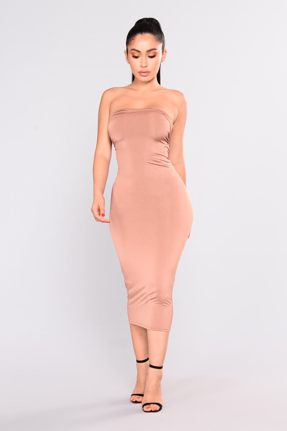 Ruched Me Right Midi Dress - Cognac