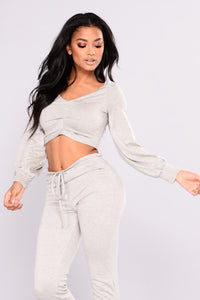 Forget Me Not Crop Top - Heather Grey Angle 1