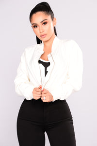 Drift Away Bomber Jacket - Ivory