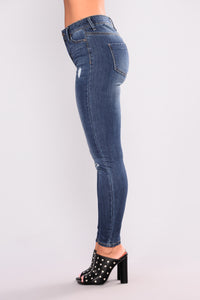 Real Turn Up Ankle Jeans - Dark Denim