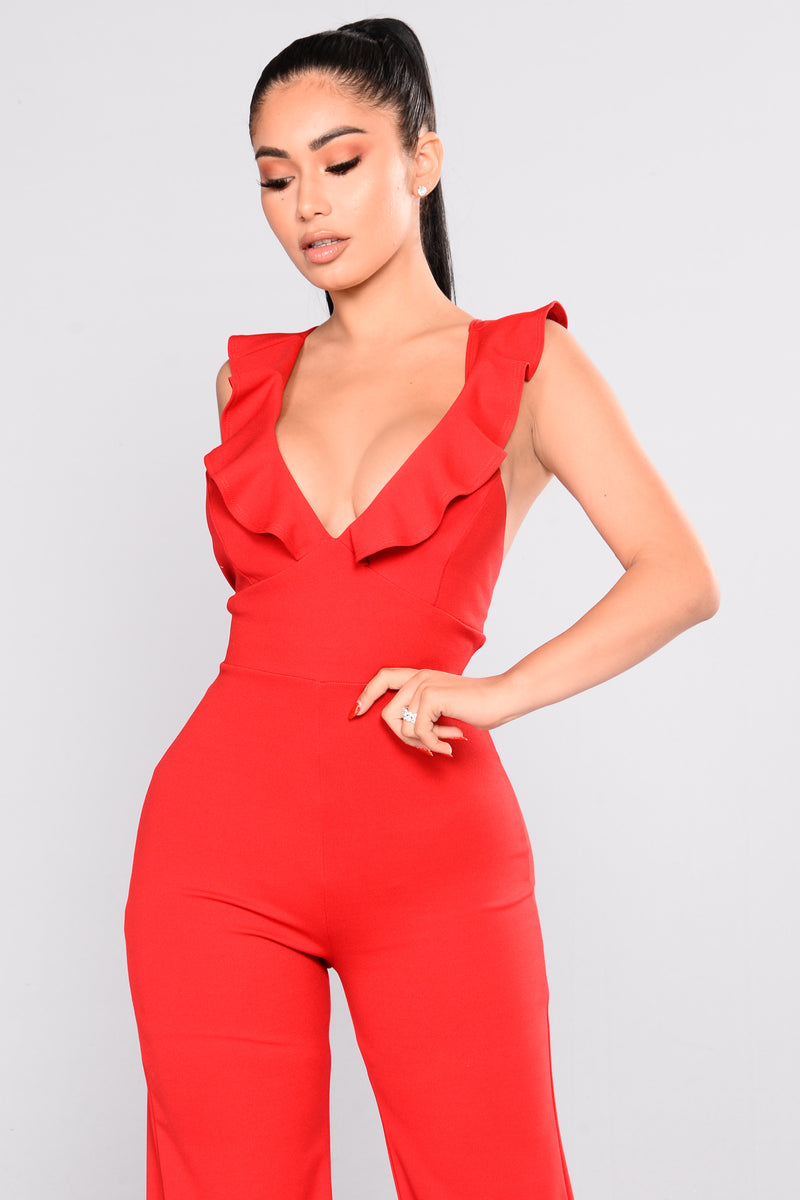 Madison Ruffle Jumpsuit - Red