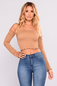 Out The Door Smock Top - Camel