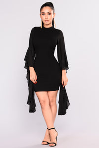 Talk With Your Hands Dress - Black Angle 2